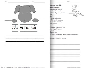 Pepper's Cut-Out Card and Worksheets in French