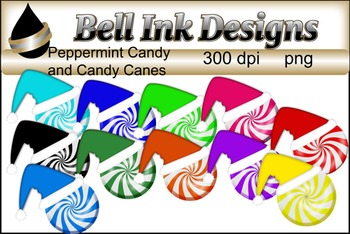 Peppermint Candy and Candy Cane Clipart