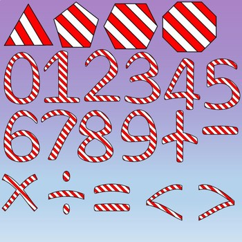 Peppermint Clipart: Candy Canes, Numbers, Letters and Shapes