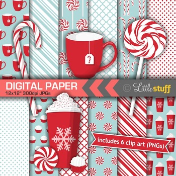 Peppermint Digital Paper Pack with 6 Coordinating Clip Art