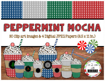 Peppermint Mocha Digital Paper and Clip Art Set