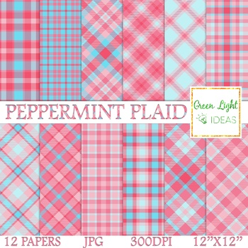 Christmas Plaid.Peppermint Plaid Digital Papers Christmas Tartan Backgrounds Scrapbook Paper