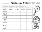 Peppermint Trolls Number Sense: 10 More, 10 Less, 100 More, 100 Less