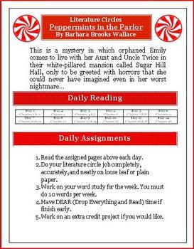 Peppermints in the Parlor Literature Circle Novel Unit Activity