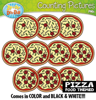 Pepperoni Pizza Counting Pictures Clipart {Zip-A-Dee-Doo-Dah Designs}