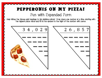 Pepperonis on my Pizza! Expanded Form Fun!