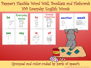 Pepper's Flexible Word Wall, Booklets and Flashcard Games in English