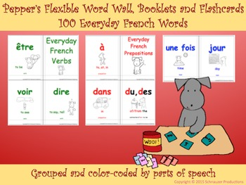 Pepper's Flexible Word Wall, Booklets and Flashcard Games in French