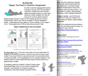 Pepper's Vacation Assignment in English