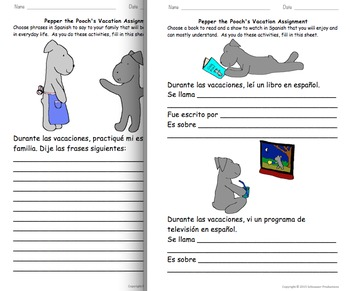 Pepper's Vacation Assignment in Spanish