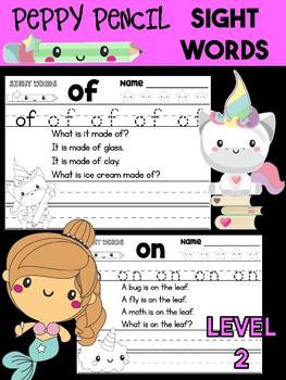 Peppy Pencil SIGHT WORDS - Trace Write Read, Unicorns SET 1 LEVEL 2