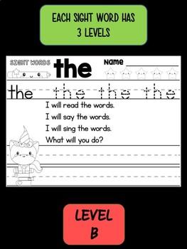 FREEBIE: Peppy Pencil SIGHT WORDS - Trace Write Read, Unicorns SET 1 LEVEL 2