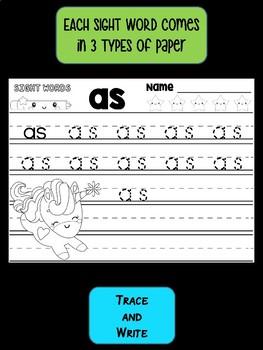 Peppy Pencil SIGHT WORDS - Trace Writing Practice, Unicorns, Mermaids SET 1