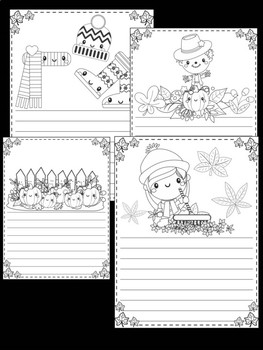 Peppy Pencil Writing Paper: Autumn, Editable, September, October, Fall