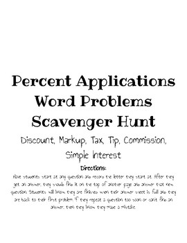 Percent Application Word Problem Scavenger Hunt