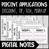 Percent Applications - Discount, Tax, Tip, Markup - Digital Notes - Google Slide
