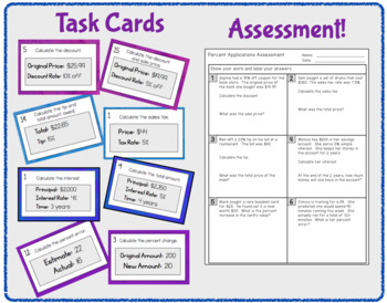 Percent Applications - Notes, Task Cards, Worksheets, and Assessment
