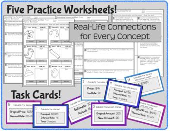 Percent Applications - Notes, Worksheets, Task Cards Resource Bundle (7.RP.3)