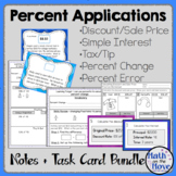 Percent Applications - Notes, Worksheets, Task Cards Resource Bundle (7.RP.3)