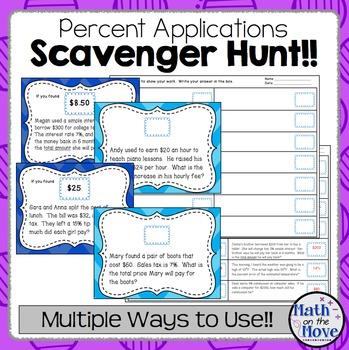 Percent Applications Scavenger Hunt/Task Card Activity (7.RP.3)