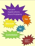 Percent Applications: Tax, Tip, Discount, Commission Word Problems