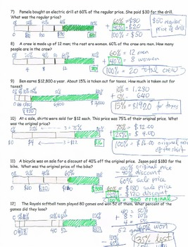 Percent Bars word problems