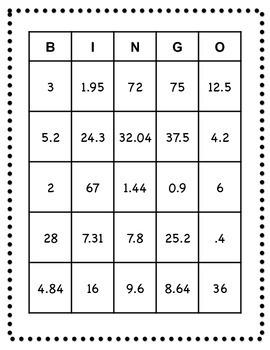 Percent Bingo