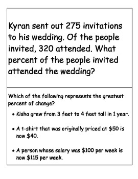 Percent Centers (Math Centers) Word Problems