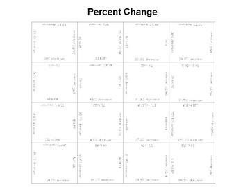 Percent Change Fun Square Puzzle