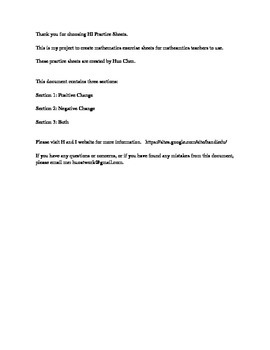 Percent Change (HI Practice Sheets)