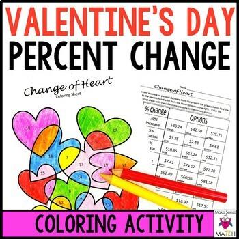 Percent Change Increase & Decrease Valentine's Coloring Activity