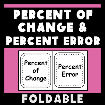 Percent Change, Increase, Decrease and Error Foldable Flippable for INB