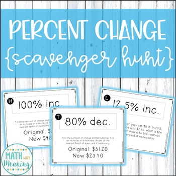 Percent Change Scavenger Hunt Activity - Aligned to CCSS 7.RP.A.3