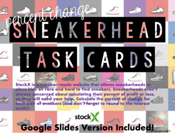 Percent Change Task Cards - Sneakerhead Edition (Google Slides Included!)