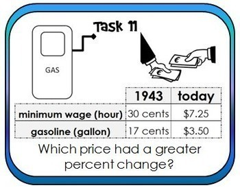 Percent Change Task Cards {then and now}