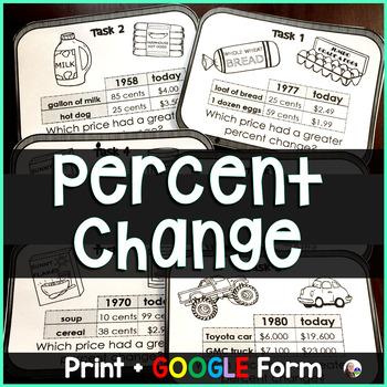 Percent Change Task Cards
