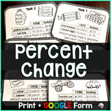 Percent Change Task Cards - print & GOOGLE Form for distance learning