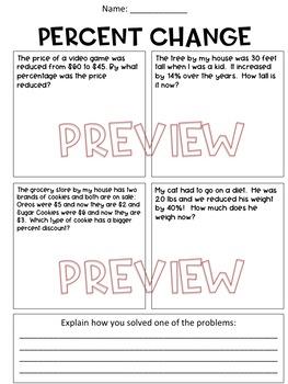 Percent Change Worksheet by Hunka Learnin' Love | TpT