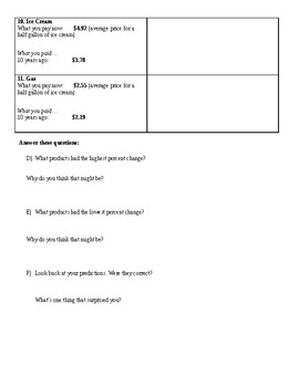 Percent Change and Inflation Worksheet