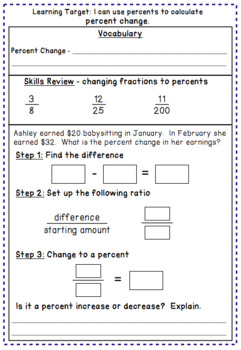 Percent Change and Percent Error  Notes and Worksheet by Math on the Move