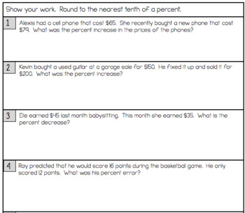 Percent Change and Percent Error - Notes and Worksheet by Math on ...