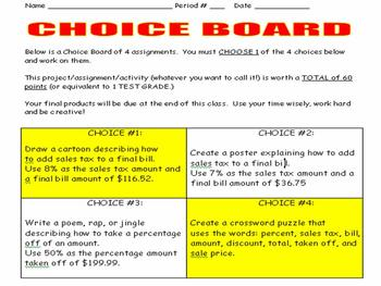 percent choice board by the teacher stool teachers pay teachers