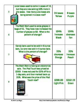 Percent Coloring Activity:  Sales Tax, Discount, Interest, Percent of Change