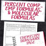 Percent Comp, Empirical Formulas, and Molecular Formulas Homework Worksheet