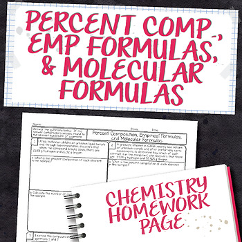 Percent Comp, Empirical Formulas, and Molecular Formulas Homework Worksheet