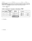 Percent Composition Calculations Worksheet with Solutions