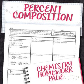 Percent Composition from Chemical Formula Chemistry Homework Worksheet