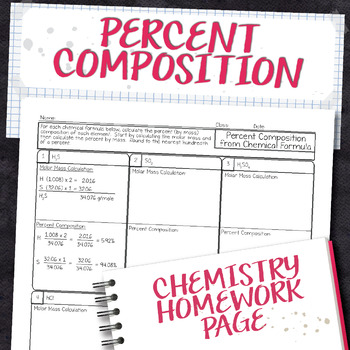 Percent Composition from Chemical Formula Chemistry Homework Worksheet