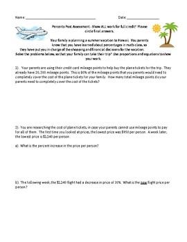 Percent Concepts Summative Assessment (Aligned to 7th Grade CCSS)