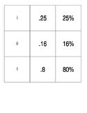 Percent Decimal Fraction Concentration Memory Game